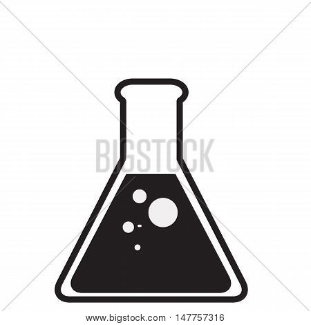 Black laboratory glass on white background Test tube icon