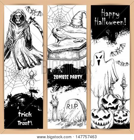 Halloween vertical posters set with black pencil sketch characters and elements. Scary death reaper in robe, cemetery tomb with zombie hand, spooky ghost with sinister smiling pumpkin. Retro style backgrounds