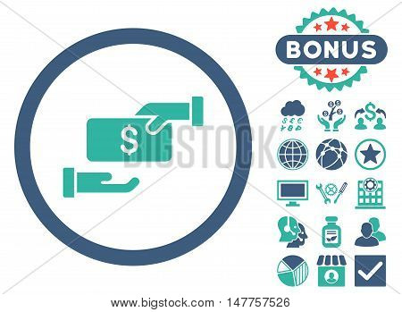 Bribe icon with bonus images. Vector illustration style is flat iconic bicolor symbols, cobalt and cyan colors, white background.
