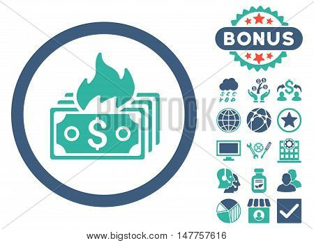 Burn Banknotes icon with bonus symbols. Vector illustration style is flat iconic bicolor symbols, cobalt and cyan colors, white background.