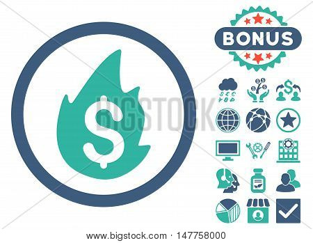 Business Fire Disaster icon with bonus images. Vector illustration style is flat iconic bicolor symbols, cobalt and cyan colors, white background.