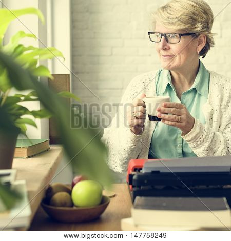 Senior Adult Drinking Water Mug Concept