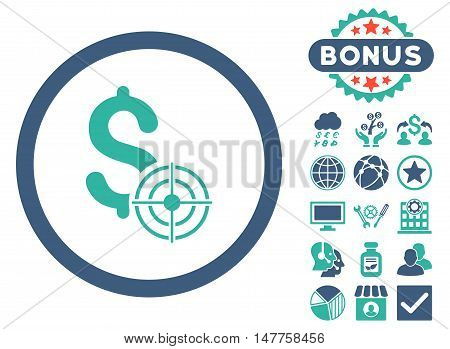 Business Target icon with bonus design elements. Vector illustration style is flat iconic bicolor symbols, cobalt and cyan colors, white background.