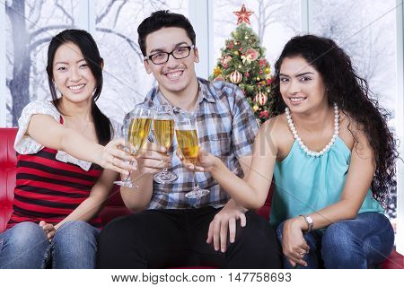 Portrait of happy multi ethnic people enjoying christmas day with champagne at home