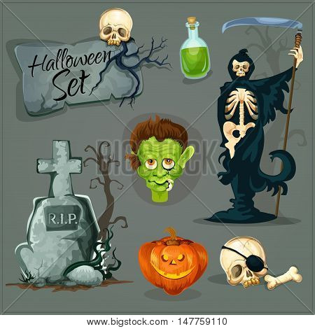 Cartoon scary elements for Halloween. Vector icons of skeleton zombie, orange halloween pumpkin lantern, gravestone with cross, green potion bottle. Creepy and horror design for Halloween decorations