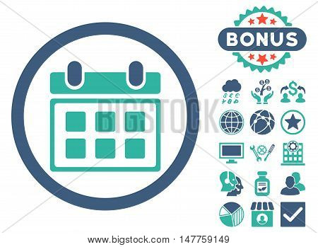 Calendar icon with bonus elements. Vector illustration style is flat iconic bicolor symbols, cobalt and cyan colors, white background.