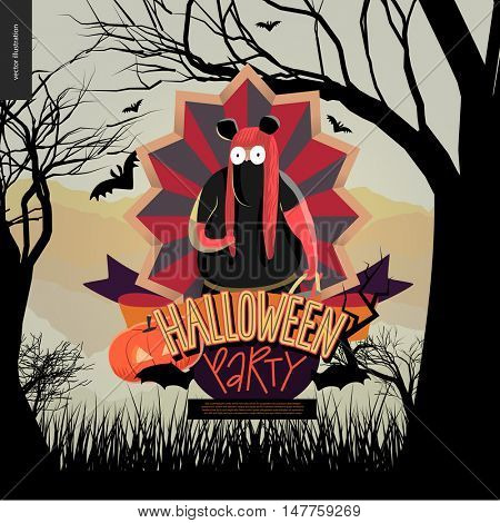 Halloween Party invitation. Flat vectror cartoon illustration of a fat girl wearing Minnie Mouse costume, in center of striped shield, bats, cutout pumpkin, ribbon, lettering, forest, trees and hills
