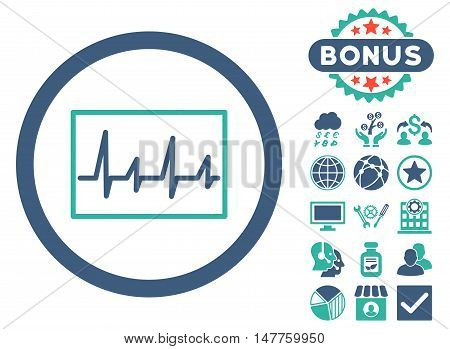 Cardiogram icon with bonus images. Vector illustration style is flat iconic bicolor symbols, cobalt and cyan colors, white background.