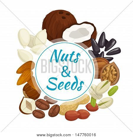 Nuts, seeds and beans round banner with peanut, almond, hazelnut, pistachio, roasted coffee beans, walnut, coconut, sunflower and pumpkin seeds