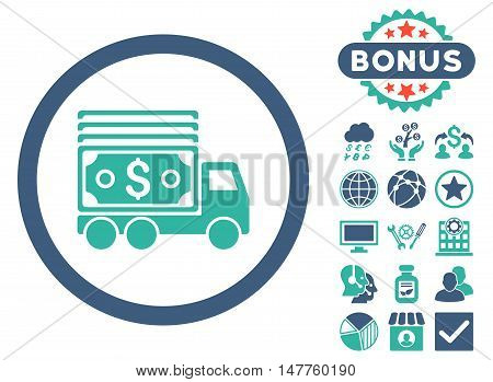 Cash Lorry icon with bonus symbols. Vector illustration style is flat iconic bicolor symbols, cobalt and cyan colors, white background.