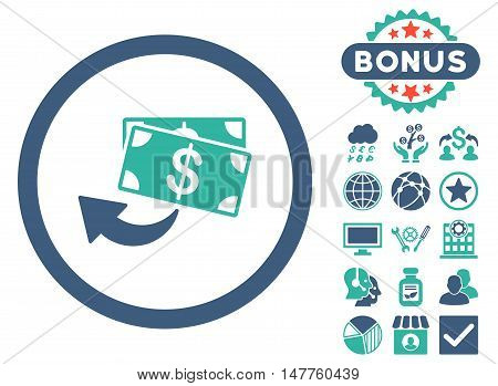 Cashback icon with bonus pictogram. Vector illustration style is flat iconic bicolor symbols, cobalt and cyan colors, white background.