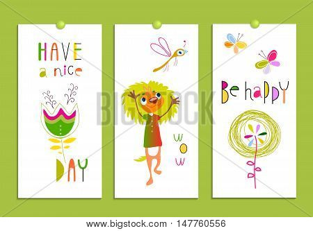 Set of creative cards with funny monsters and flowers. Birthday, party invitations, scrapbooking. Hand Drawn design elements isolated on white. Bright, multicolored, humor. Vector illustration.