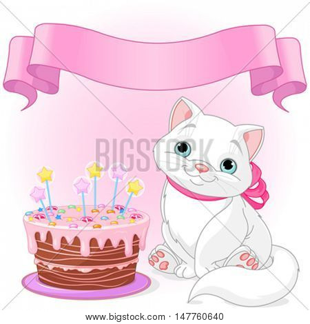 Adorable cat celebrating its birthday