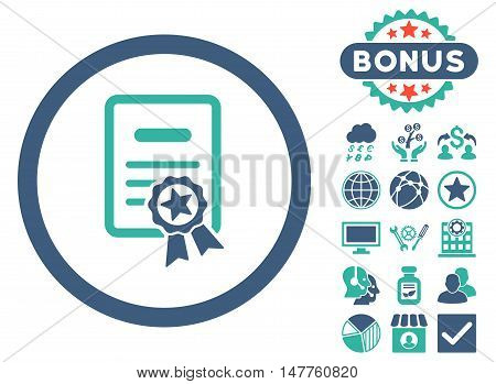 Certified Diploma icon with bonus images. Vector illustration style is flat iconic bicolor symbols, cobalt and cyan colors, white background.