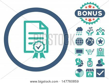 Certified icon with bonus design elements. Vector illustration style is flat iconic bicolor symbols, cobalt and cyan colors, white background.