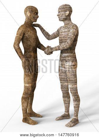 3D Illustration Mummies Isolated on White Background