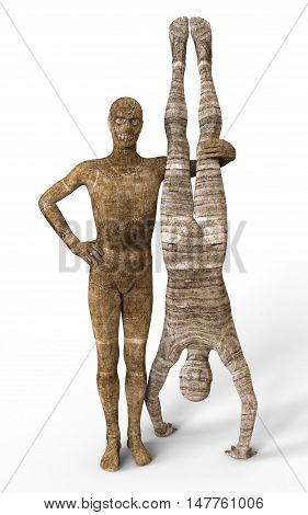 3D Illustration Mummies Isolated on White Background