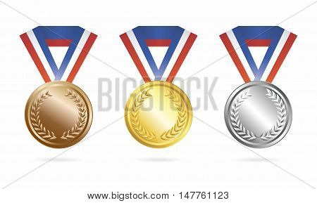Vector Sport Champion Trophies Collection of Gold, Silver and Bronze Medal isolated on white background