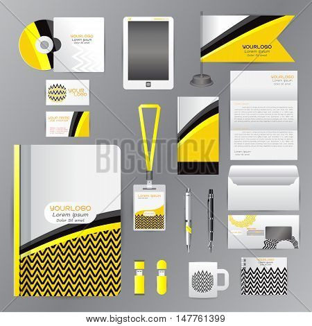 White corporate identity template with Yellow origami elements. Vector company style for brandbook guideline and Pens mugs CDs books business cards letterhead flag Card Portfolio employees Tablet flash drive