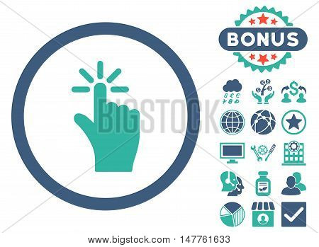 Click icon with bonus design elements. Vector illustration style is flat iconic bicolor symbols, cobalt and cyan colors, white background.