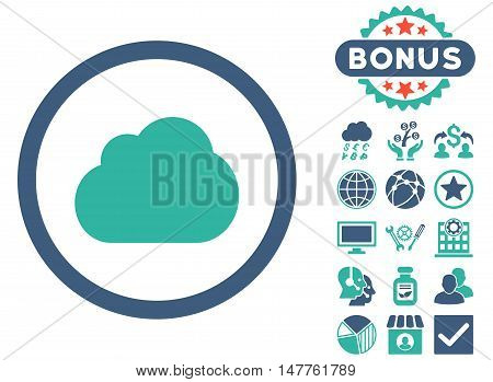 Cloud icon with bonus elements. Vector illustration style is flat iconic bicolor symbols, cobalt and cyan colors, white background.