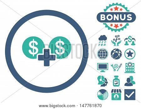 Coins Sum icon with bonus pictogram. Vector illustration style is flat iconic bicolor symbols, cobalt and cyan colors, white background.