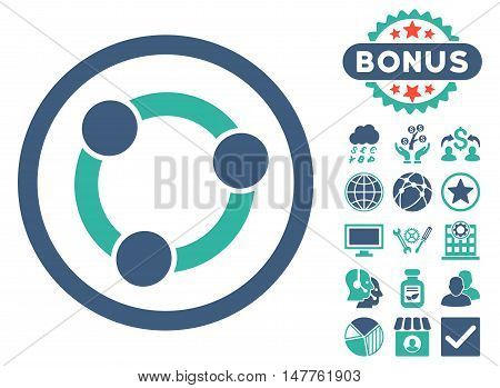Collaboration icon with bonus pictogram. Vector illustration style is flat iconic bicolor symbols, cobalt and cyan colors, white background.