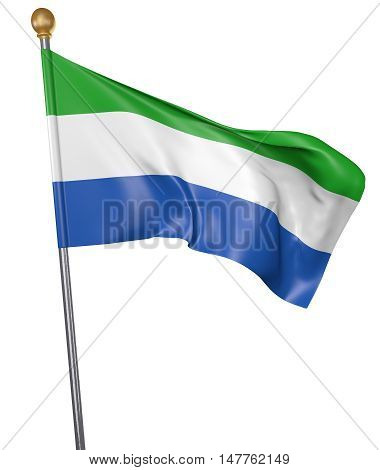National flag for country of Sierra Leone isolated on white background, 3D rendering