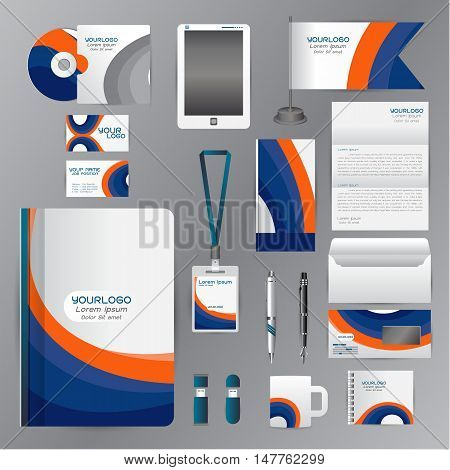 White corporate identity template with blue Orange origami elements. Vector company style for brandbook guideline and Pens mugs CDs books business cards letterhead flag Card Portfolio employees Tablet flash drive