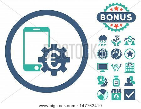 Configure Mobile Euro Bank icon with bonus images. Vector illustration style is flat iconic bicolor symbols, cobalt and cyan colors, white background.