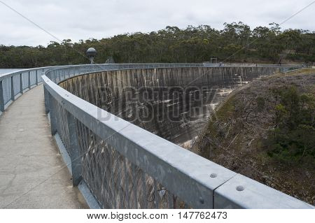 Walk way over the Whispering Wall at Barossa Reservoir in Williamstown South Australia