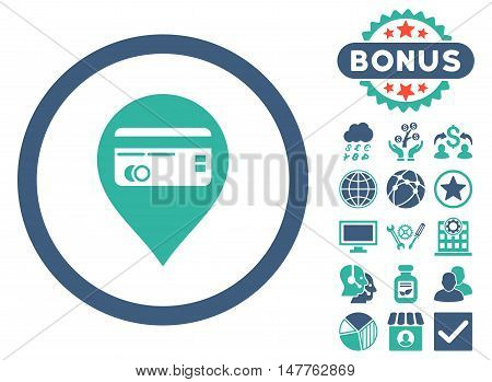 Credit Card Pointer icon with bonus images. Vector illustration style is flat iconic bicolor symbols, cobalt and cyan colors, white background.