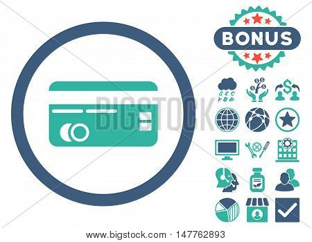 Credit Card icon with bonus symbols. Vector illustration style is flat iconic bicolor symbols, cobalt and cyan colors, white background.