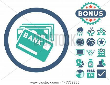 Credit Money icon with bonus pictogram. Vector illustration style is flat iconic bicolor symbols, cobalt and cyan colors, white background.