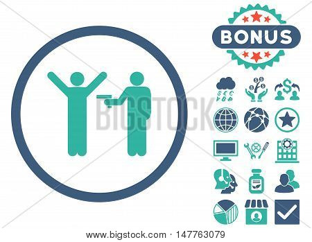 Crime icon with bonus elements. Vector illustration style is flat iconic bicolor symbols, cobalt and cyan colors, white background.