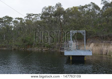 Small jetty near the Whispering Wall on the Barossa Reservoir in Williamstown South Australia