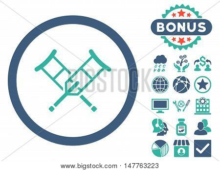 Crutches icon with bonus symbols. Vector illustration style is flat iconic bicolor symbols, cobalt and cyan colors, white background.
