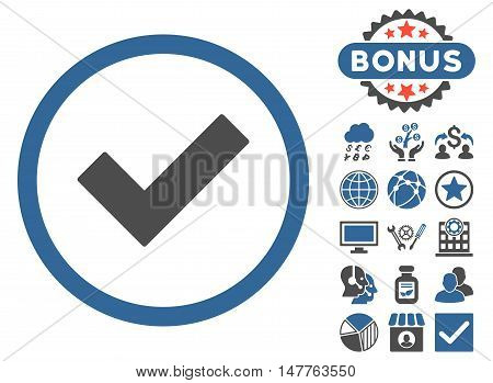 Accept icon with bonus images. Vector illustration style is flat iconic bicolor symbols, cobalt and gray colors, white background.