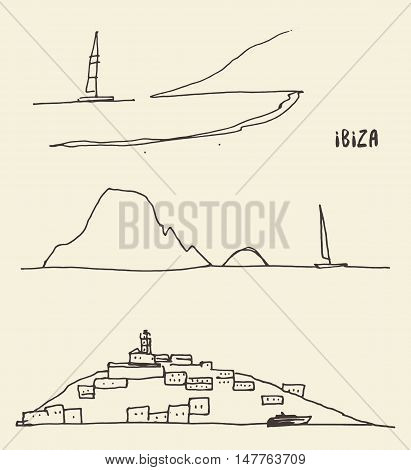 Set of a sketches of Ibiza landscapes, vector illustration