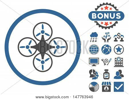 Air Drone icon with bonus images. Vector illustration style is flat iconic bicolor symbols, cobalt and gray colors, white background.