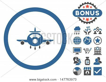 Aircraft icon with bonus elements. Vector illustration style is flat iconic bicolor symbols, cobalt and gray colors, white background.