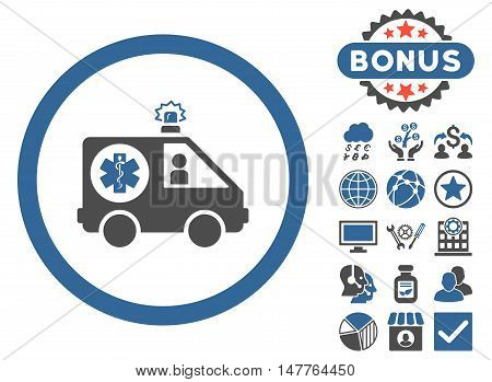 Ambulance Car icon with bonus design elements. Vector illustration style is flat iconic bicolor symbols, cobalt and gray colors, white background.