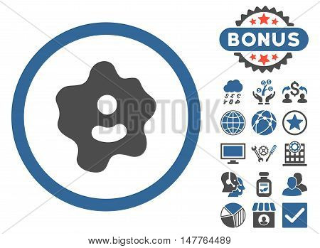 Ameba icon with bonus images. Vector illustration style is flat iconic bicolor symbols, cobalt and gray colors, white background.