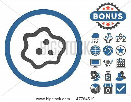 Amoeba icon with bonus images. Vector illustration style is flat iconic bicolor symbols, cobalt and gray colors, white background.