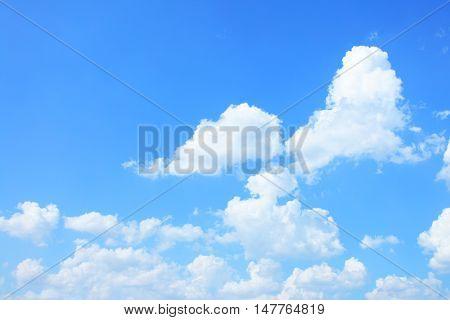 Cumulus clouds in the blue sky with copyspace