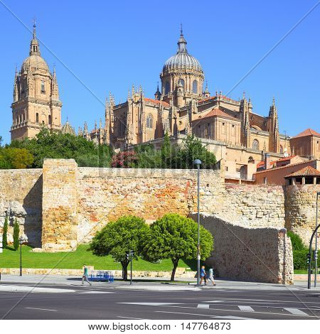 View of Town wall and Cathedrals in Salamanca, Spain