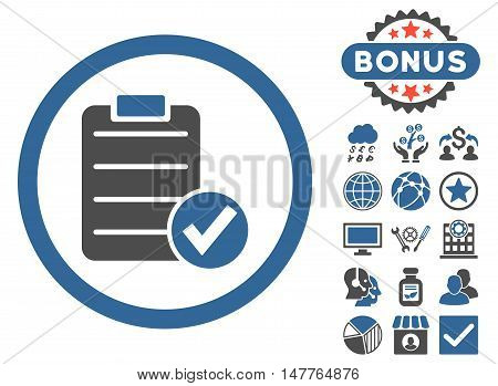 Apply Form icon with bonus elements. Vector illustration style is flat iconic bicolor symbols, cobalt and gray colors, white background.