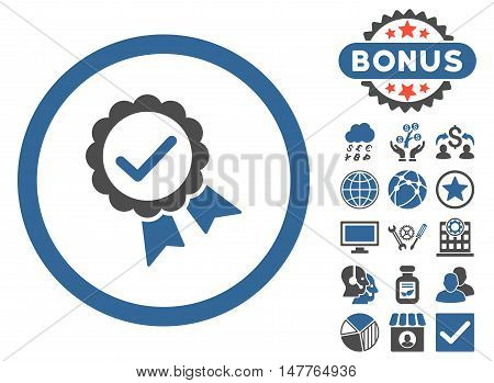 Approved icon with bonus pictogram. Vector illustration style is flat iconic bicolor symbols, cobalt and gray colors, white background.