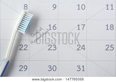 dentist appointment in calendar planner for reminder