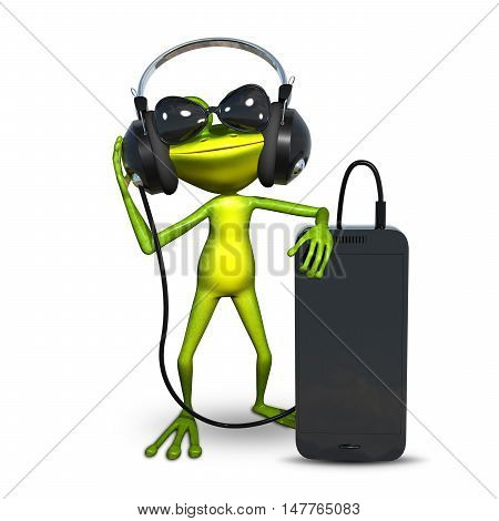 3D Illustration of a Frog with Headphones with a Smartphone